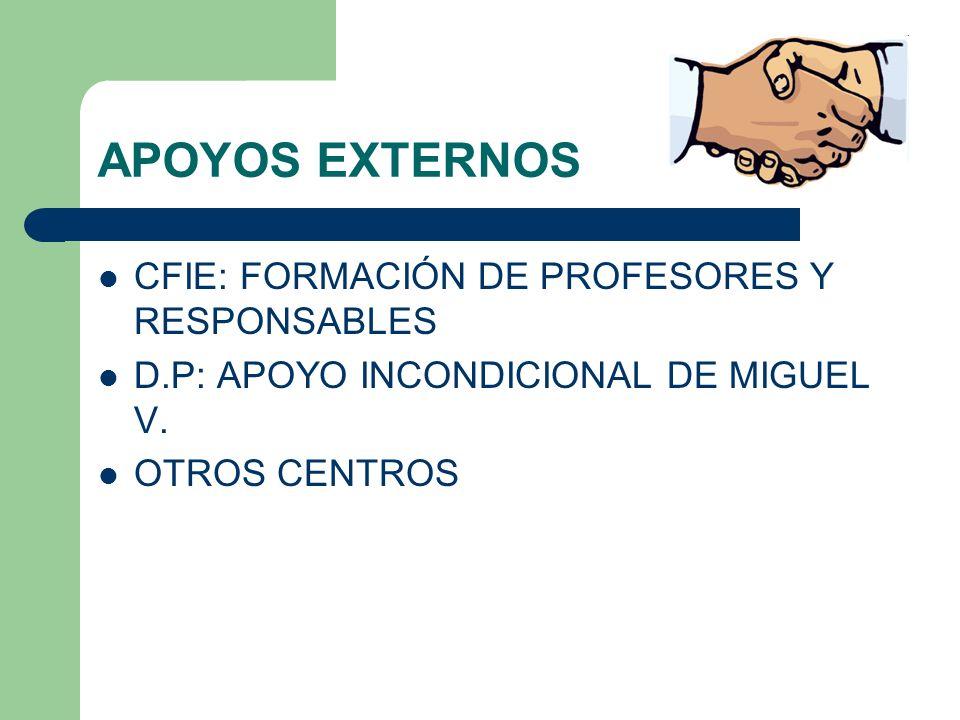 APOYOS EXTERNOS CFIE: FORMACIÓN DE PROFESORES Y RESPONSABLES