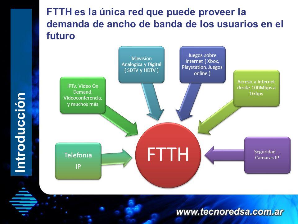 FTTH es la única red que puede proveer la demanda de ancho de banda de los usuarios en el futuro