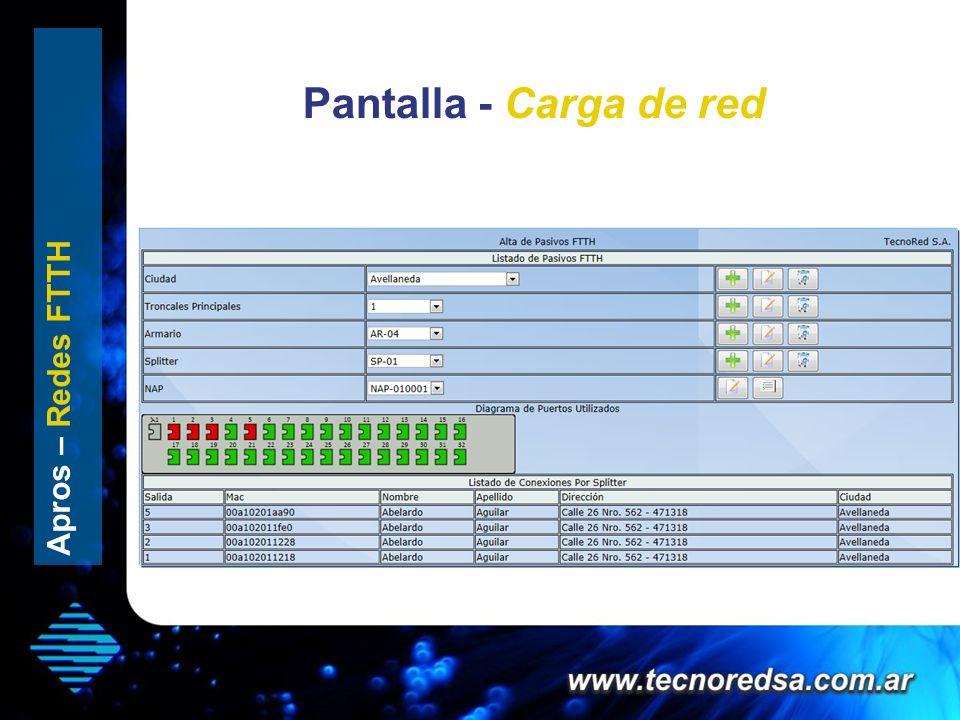 Pantalla - Carga de red Splitter x 32 Apros – Redes FTTH