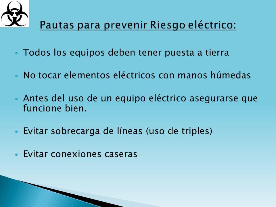 Pautas para prevenir Riesgo eléctrico: