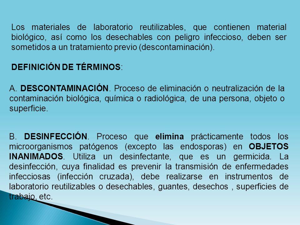 Los materiales de laboratorio reutilizables, que contienen material biológico, así como los desechables con peligro infeccioso, deben ser sometidos a un tratamiento previo (descontaminación).