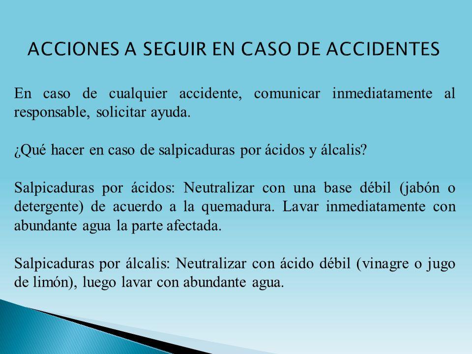 ACCIONES A SEGUIR EN CASO DE ACCIDENTES
