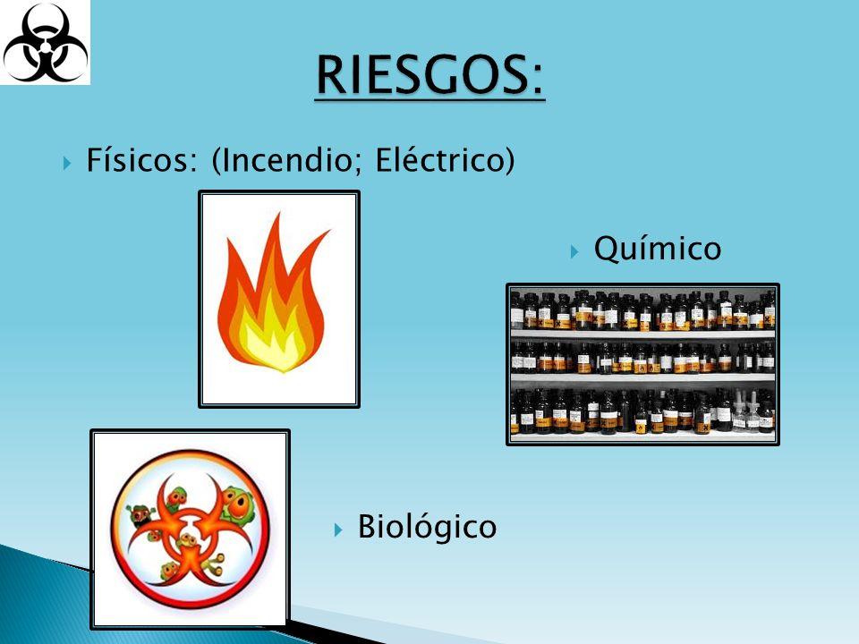 RIESGOS: Físicos: (Incendio; Eléctrico) Químico Biológico