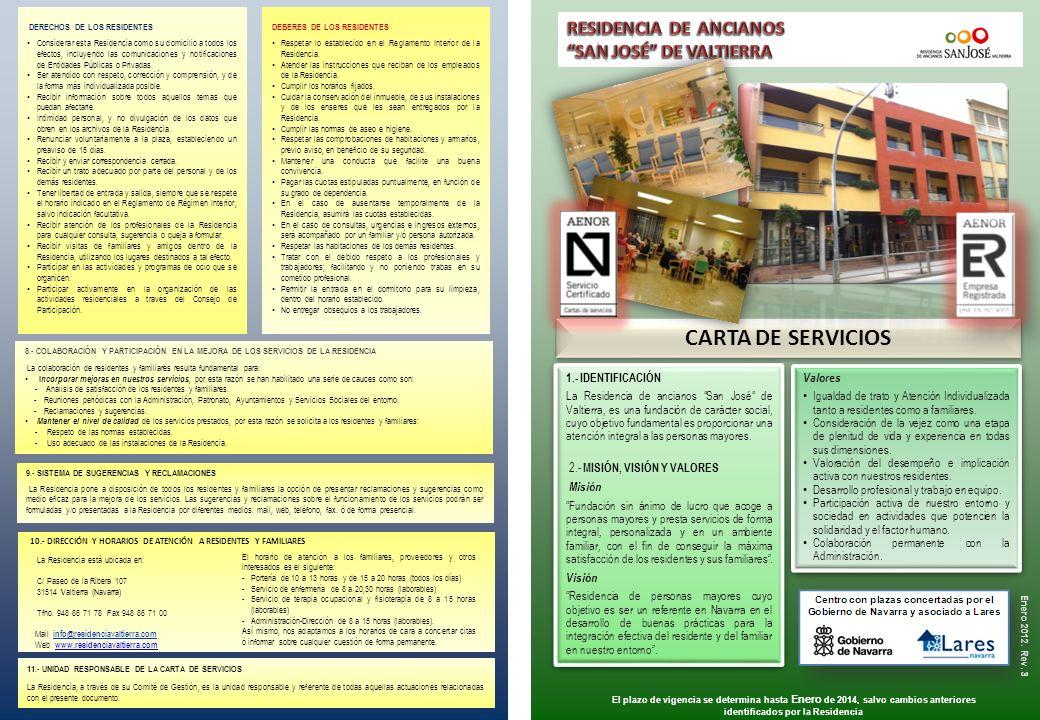 CARTA DE SERVICIOS RESIDENCIA DE ANCIANOS SAN JOSÉ DE VALTIERRA