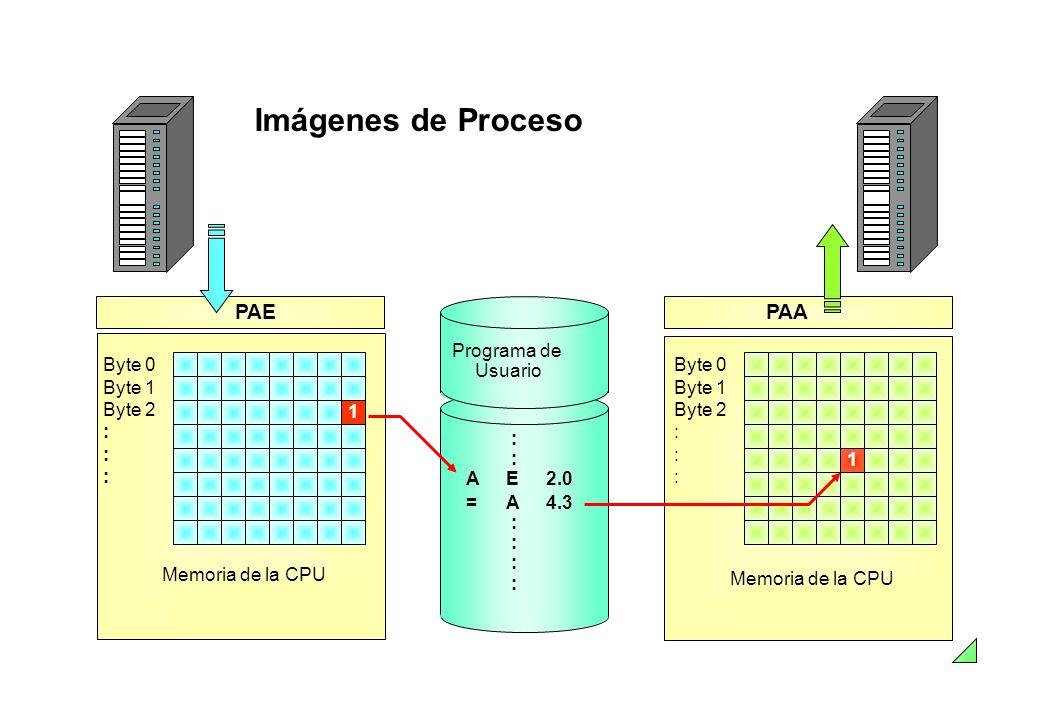 Imágenes de Proceso PAE PAA Byte 0 Byte 1 Byte 2 : Memoria de la CPU 1