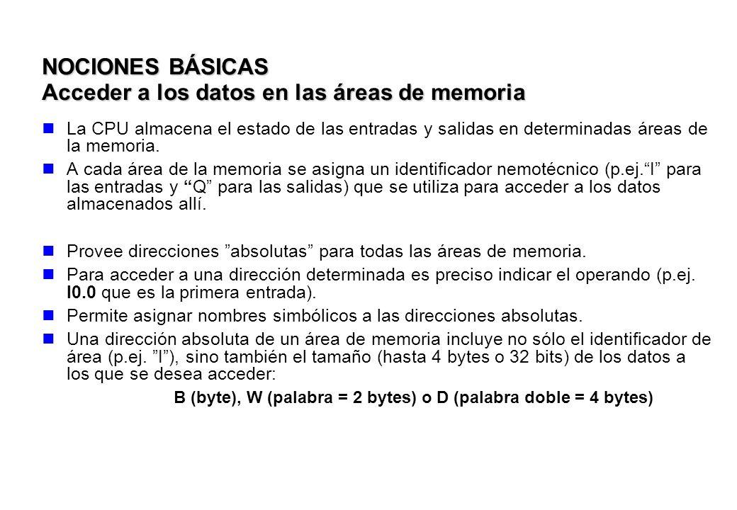NOCIONES BÁSICAS Acceder a los datos en las áreas de memoria