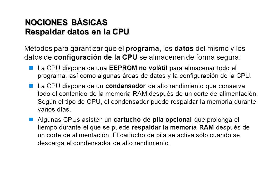 NOCIONES BÁSICAS Respaldar datos en la CPU