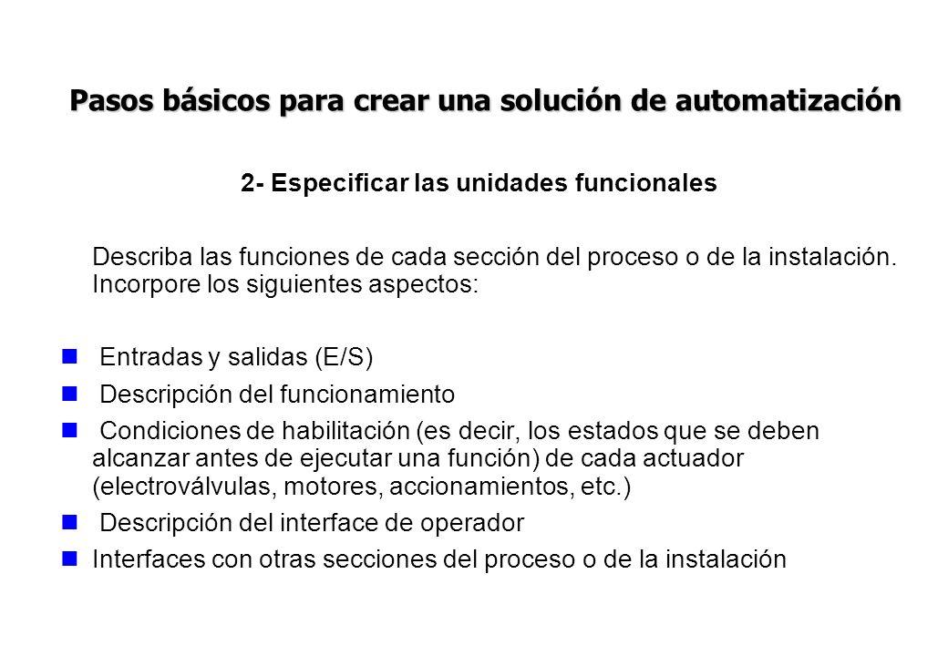 2- Especificar las unidades funcionales