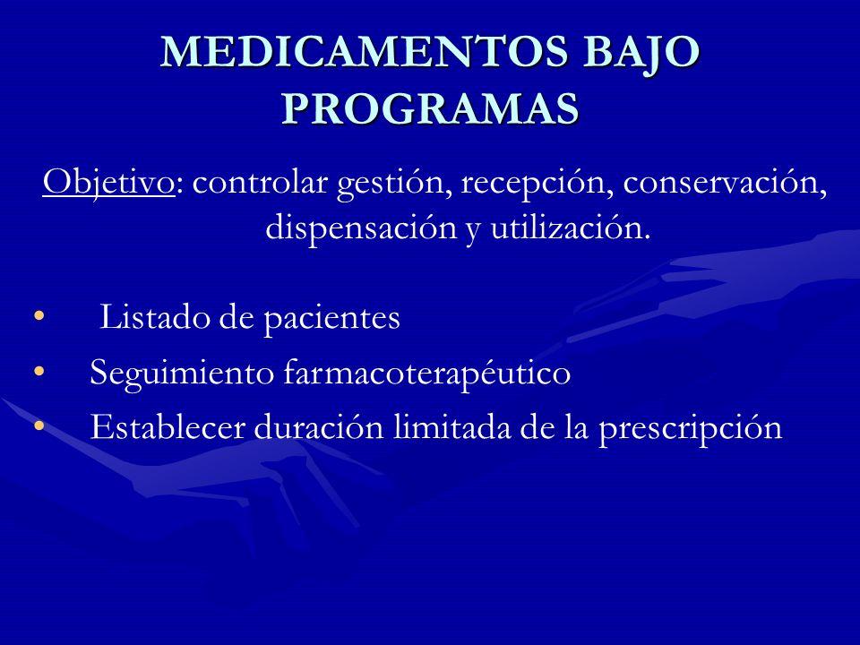MEDICAMENTOS BAJO PROGRAMAS