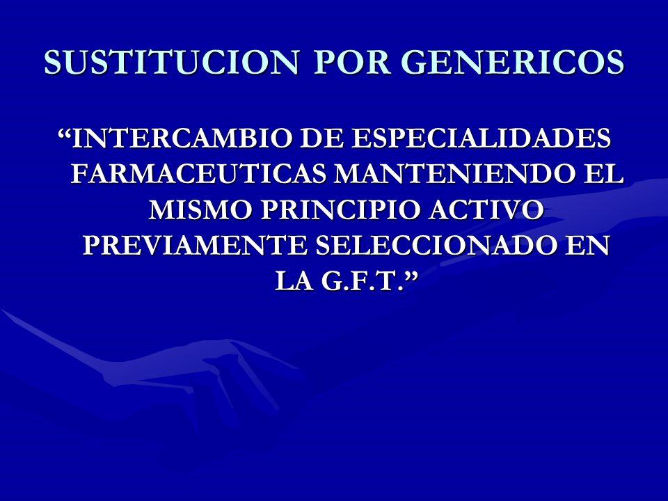SUSTITUCION POR GENERICOS