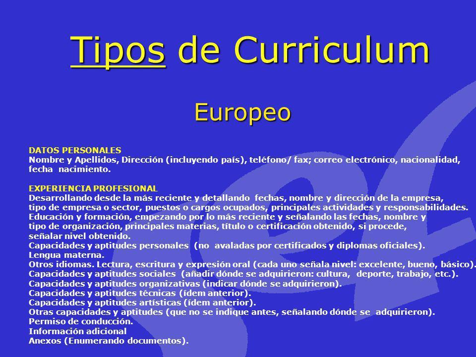 Tipos de Curriculum Europeo DATOS PERSONALES