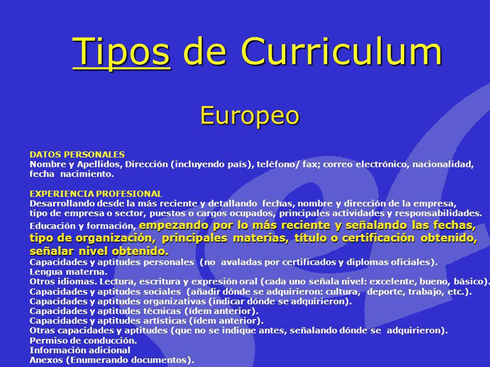 Tipos de Curriculum Europeo