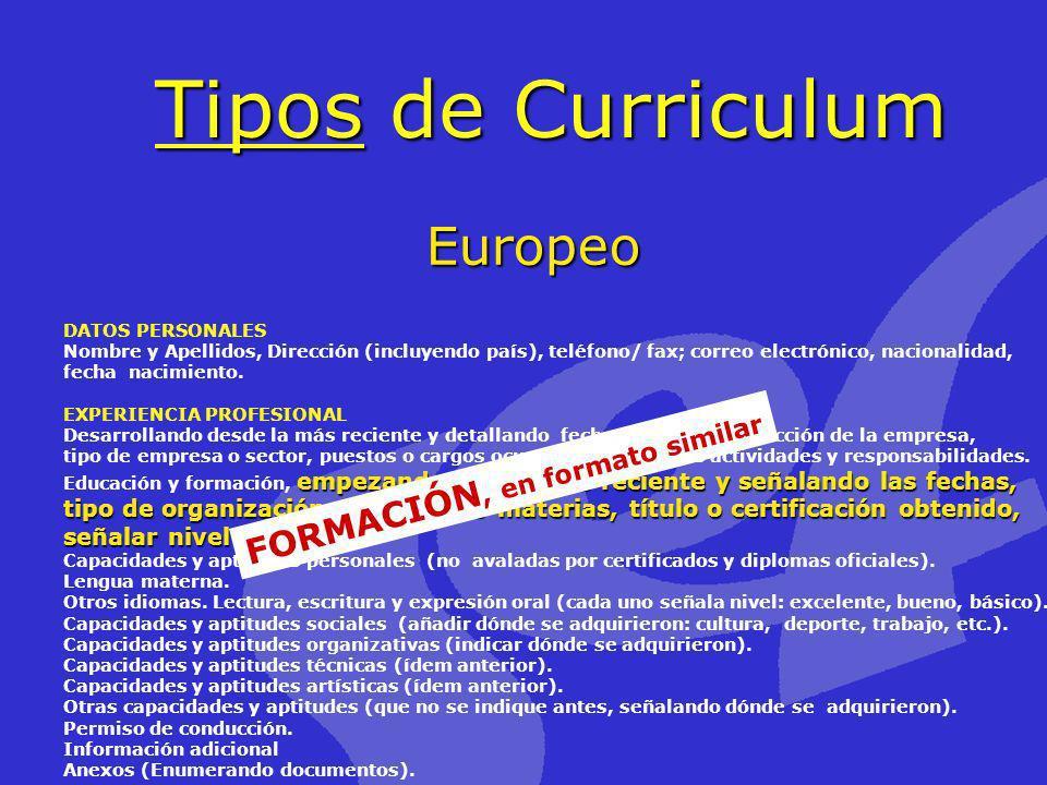 Tipos de Curriculum Europeo FORMACIÓN, en formato similar