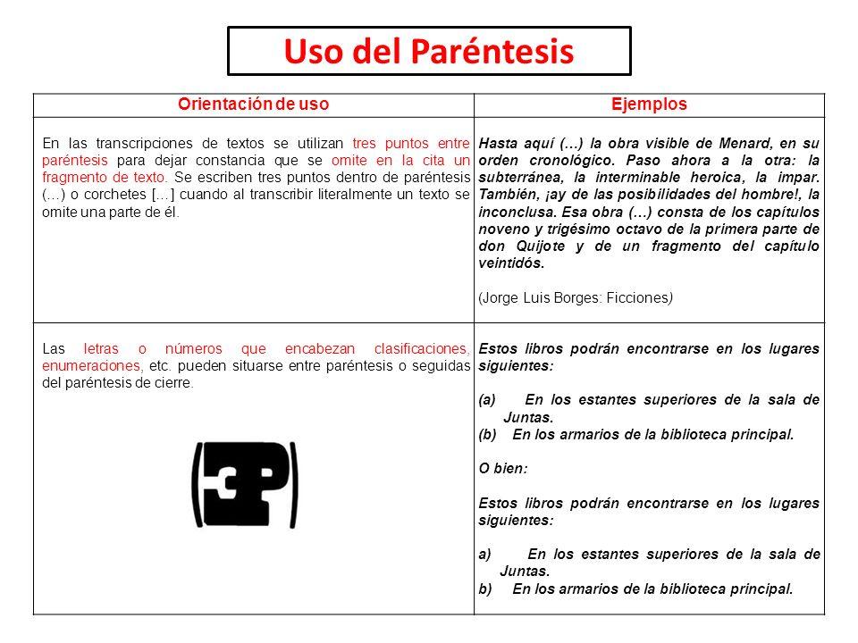 Uso del Paréntesis Orientación de uso Ejemplos