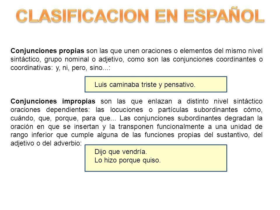 CLASIFICACION EN ESPAÑOL