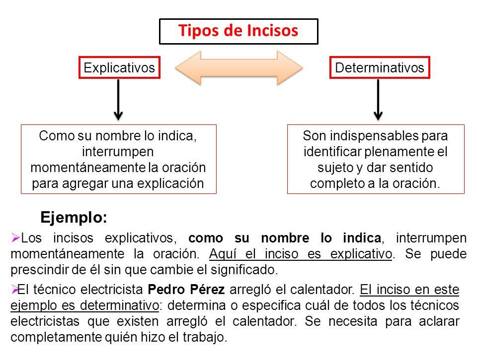 Tipos de Incisos Ejemplo: Explicativos Determinativos