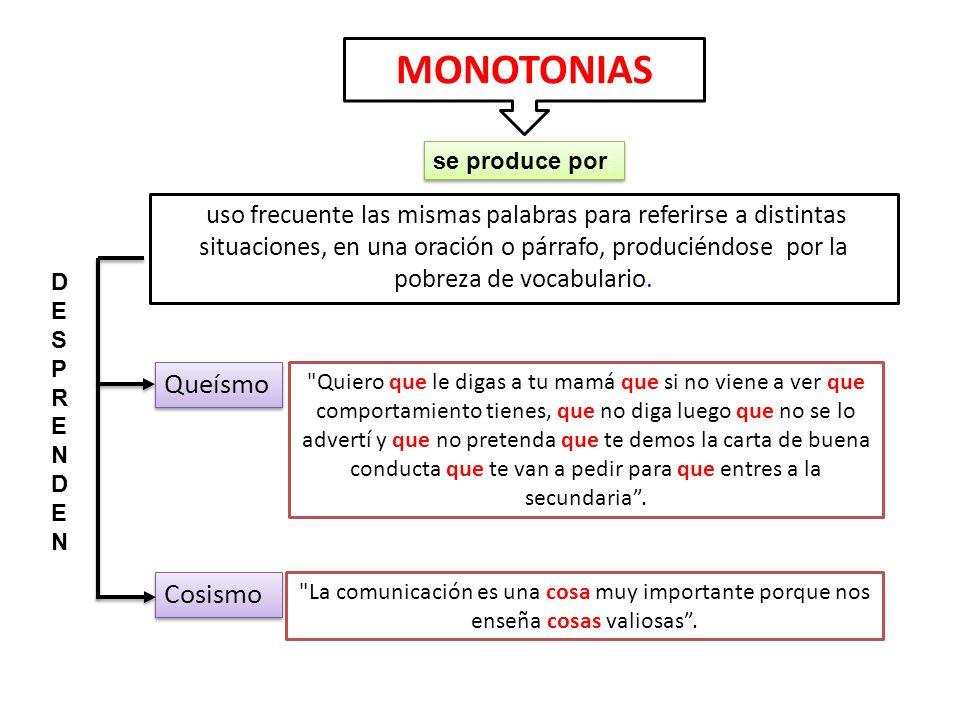 MONOTONIAS Queísmo Cosismo