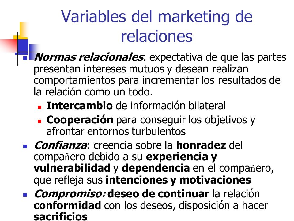Variables del marketing de relaciones