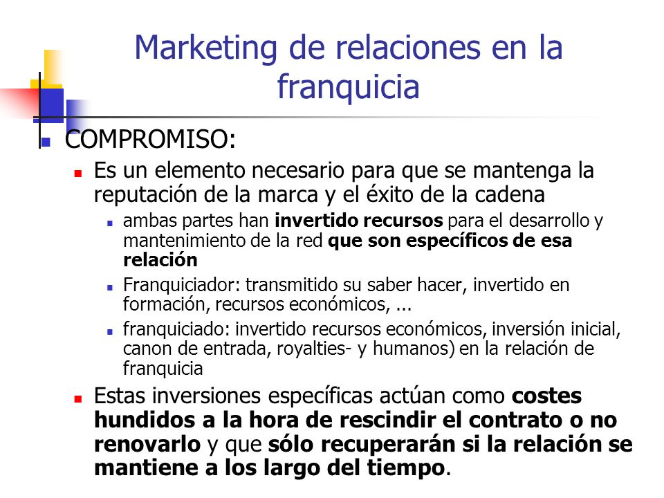 Marketing de relaciones en la franquicia