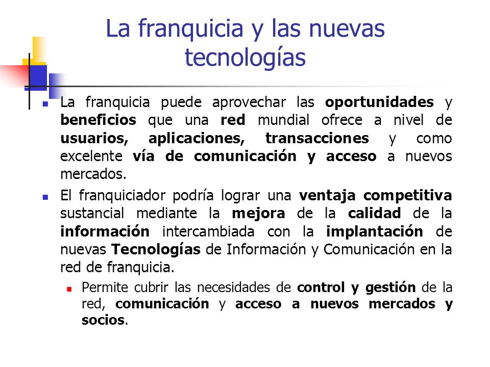 La franquicia y las nuevas tecnologías