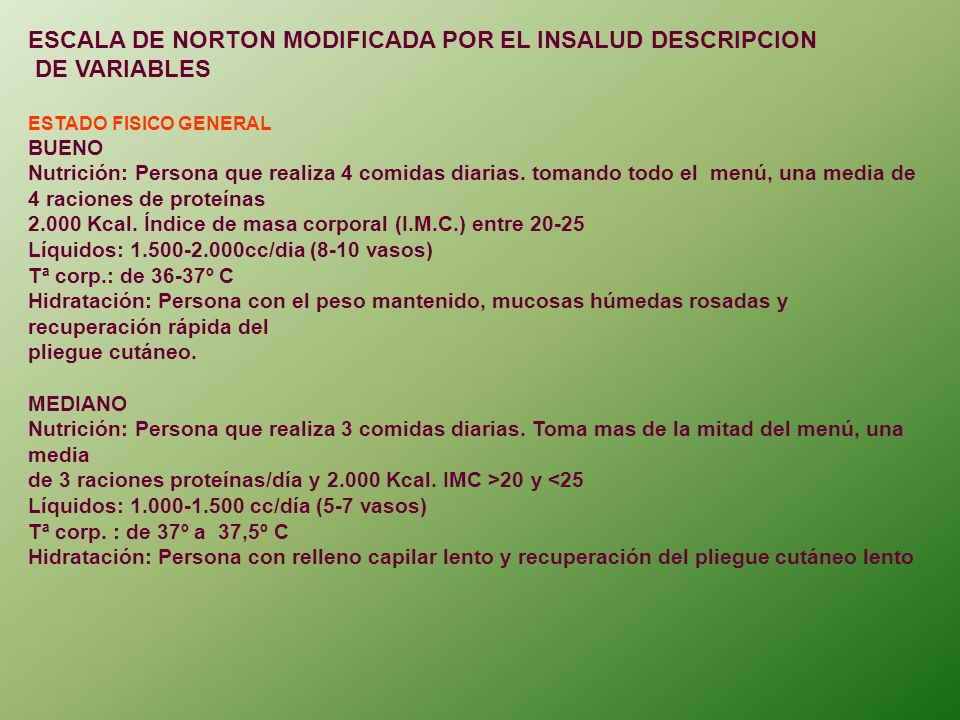 ESCALA DE NORTON MODIFICADA POR EL INSALUD DESCRIPCION DE VARIABLES