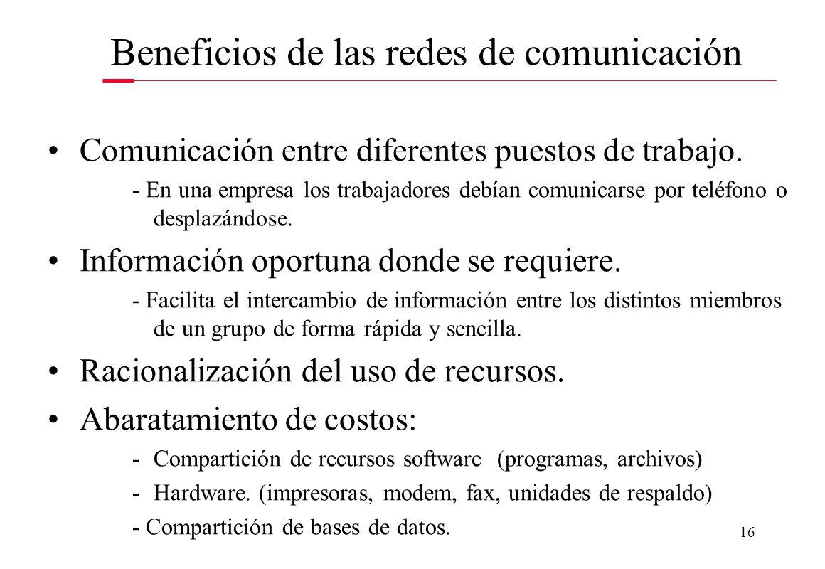 Beneficios de las redes de comunicación