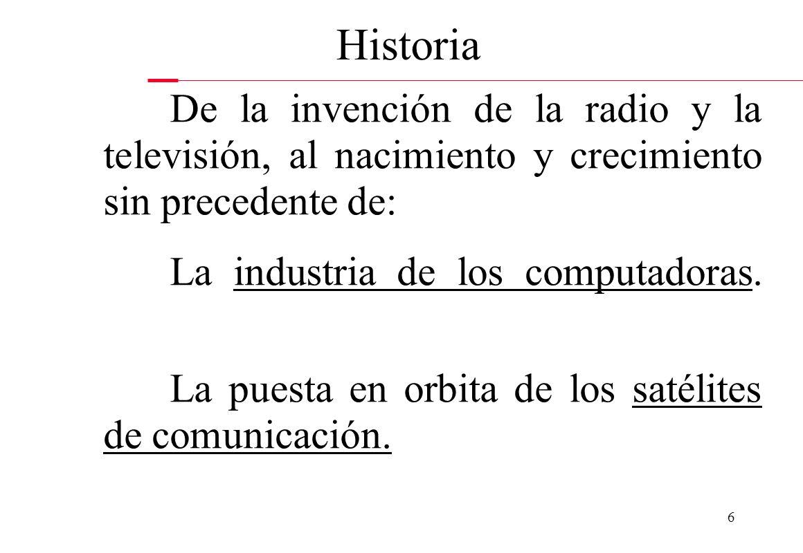 Historia De la invención de la radio y la televisión, al nacimiento y crecimiento sin precedente de: