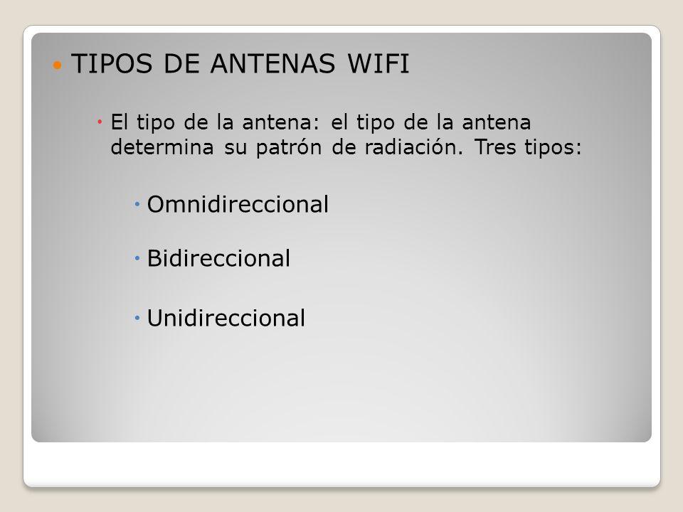 TIPOS DE ANTENAS WIFI Omnidireccional Bidireccional Unidireccional