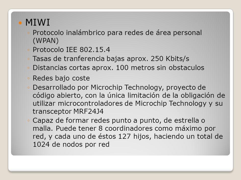 MIWI Protocolo inalámbrico para redes de área personal (WPAN)