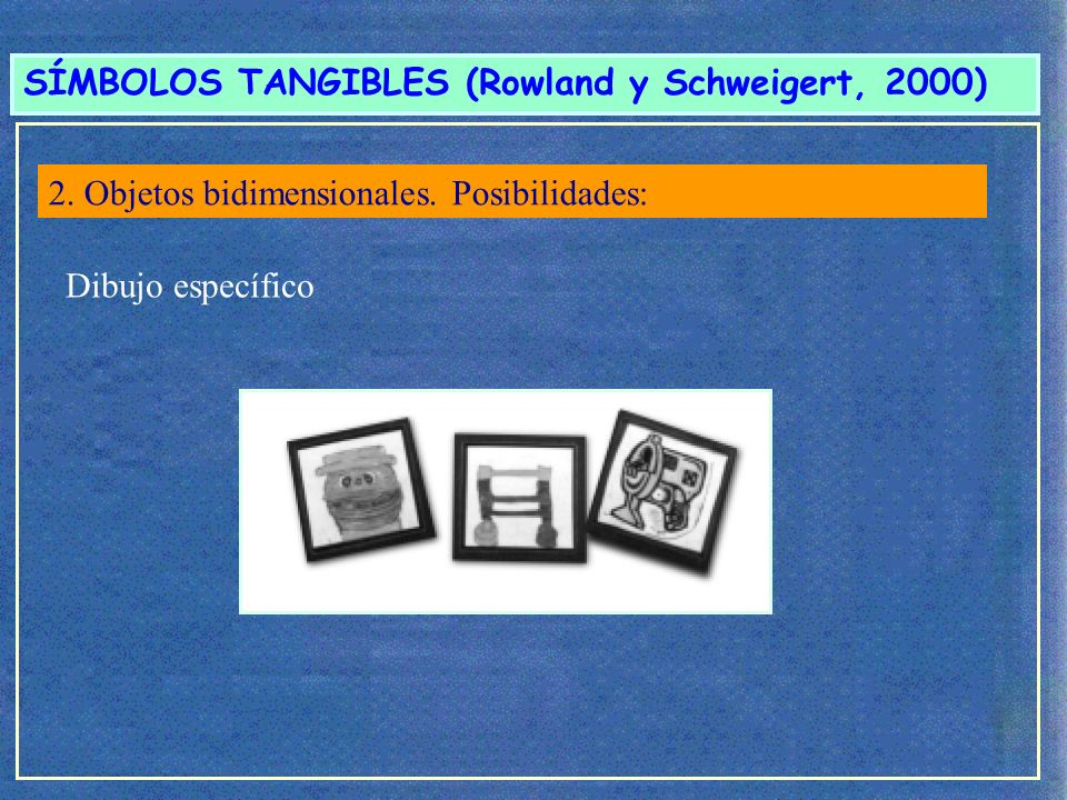 SÍMBOLOS TANGIBLES (Rowland y Schweigert, 2000)