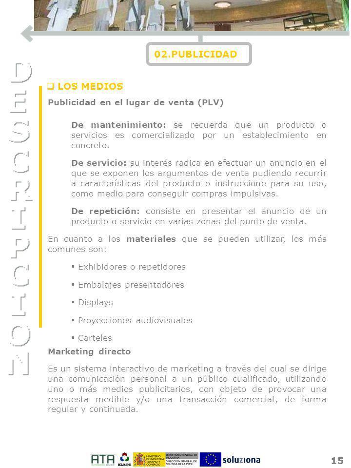 02.PUBLICIDAD LOS MEDIOS Publicidad en el lugar de venta (PLV)