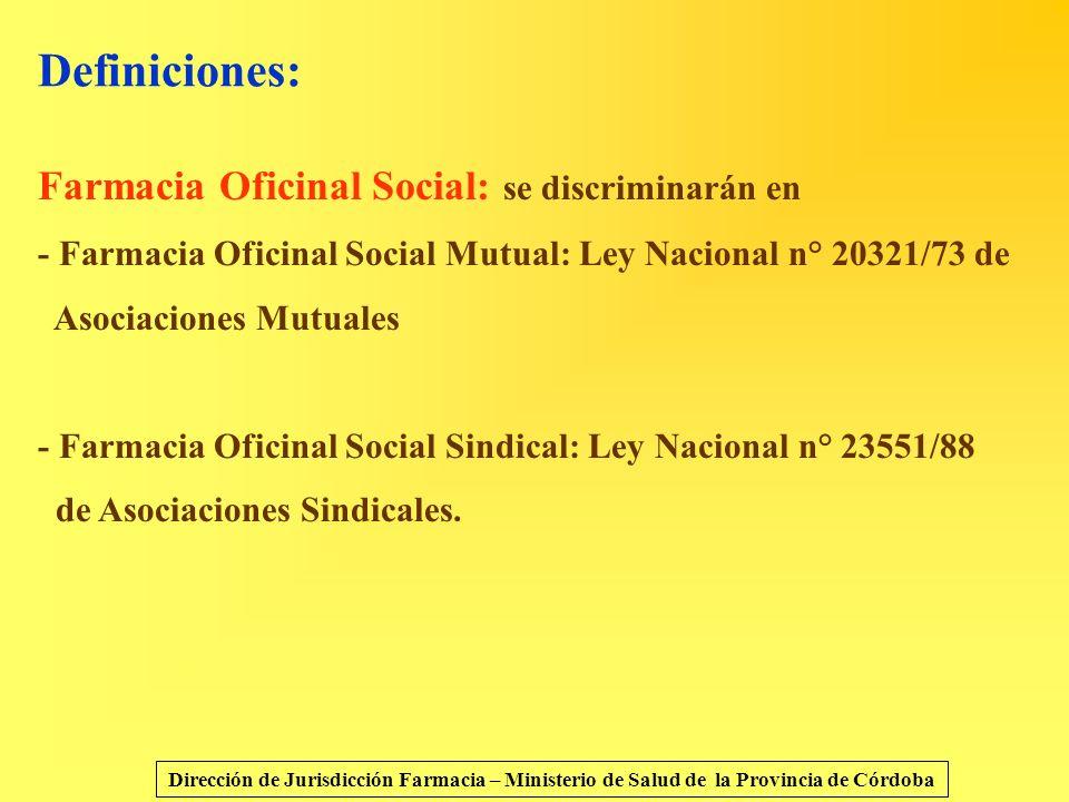 Definiciones: Farmacia Oficinal Social: se discriminarán en