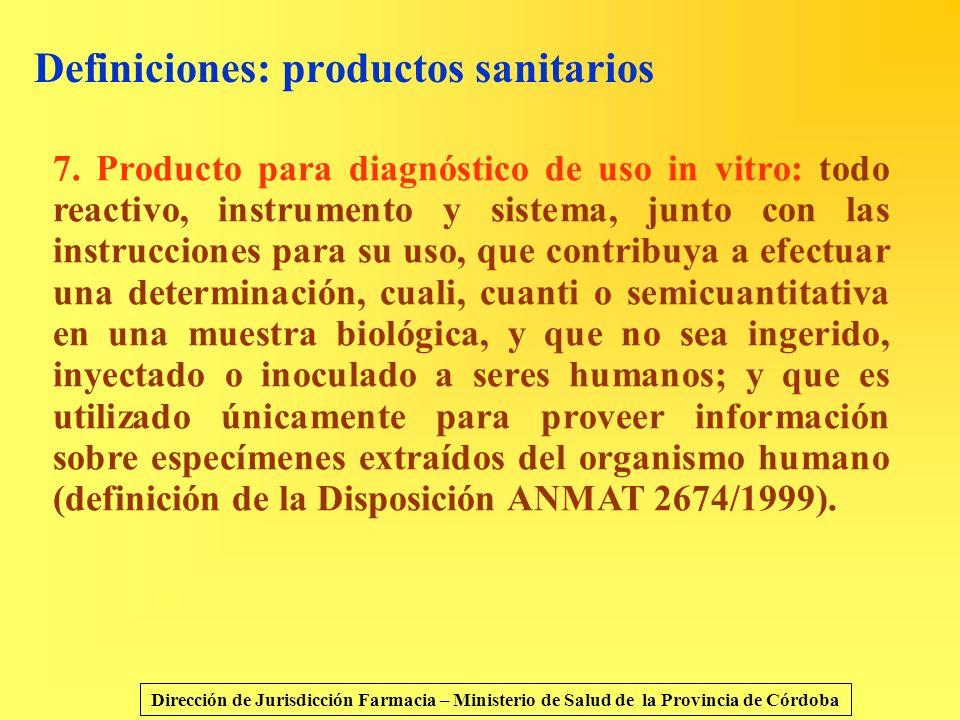 Definiciones: productos sanitarios