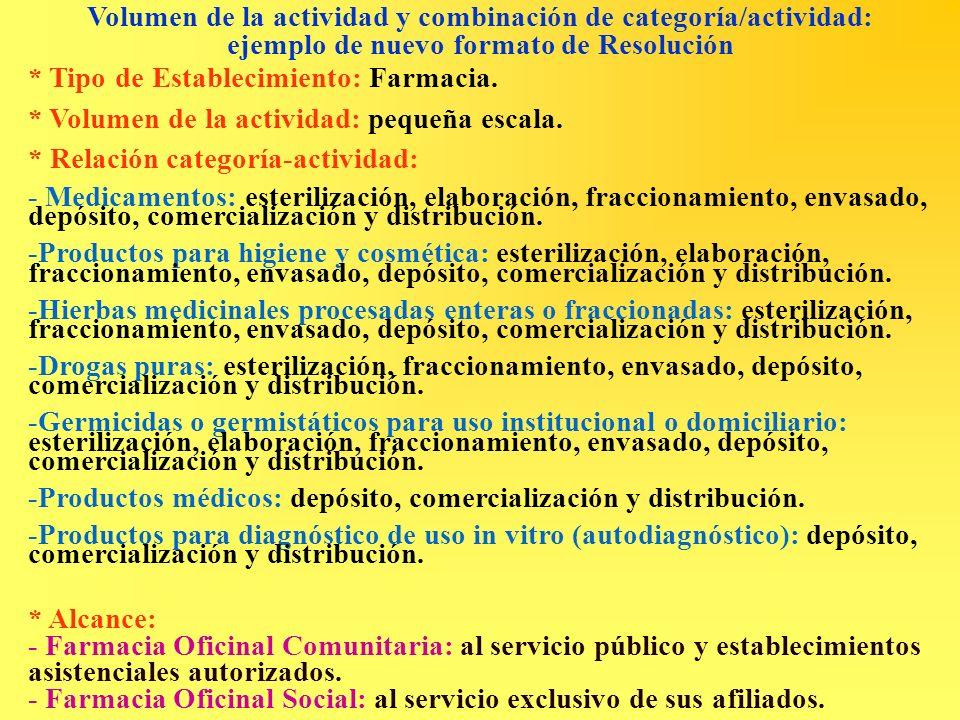 Volumen de la actividad y combinación de categoría/actividad: ejemplo de nuevo formato de Resolución