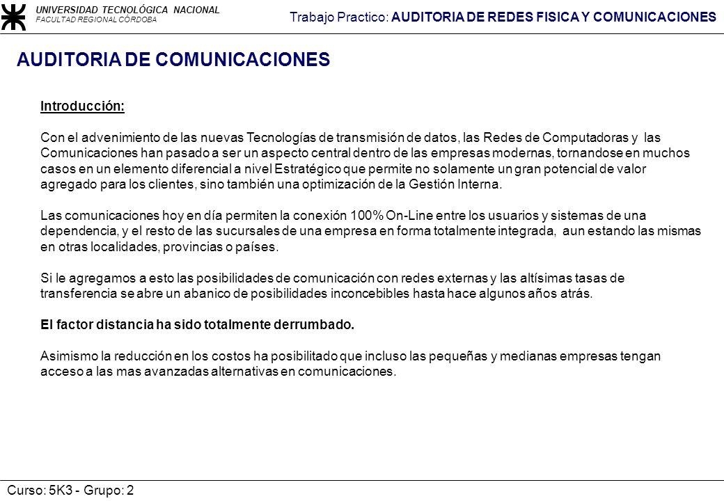 AUDITORIA DE COMUNICACIONES