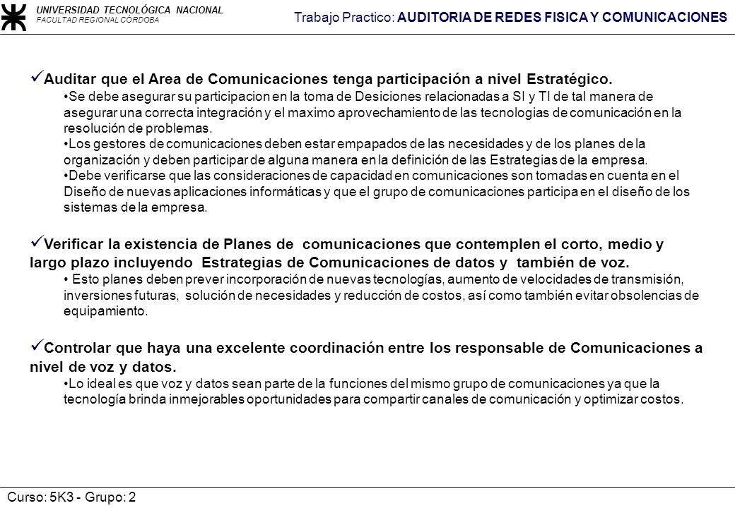 Auditar que el Area de Comunicaciones tenga participación a nivel Estratégico.