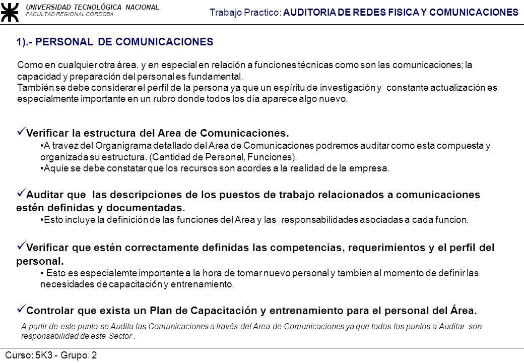 Verificar la estructura del Area de Comunicaciones.