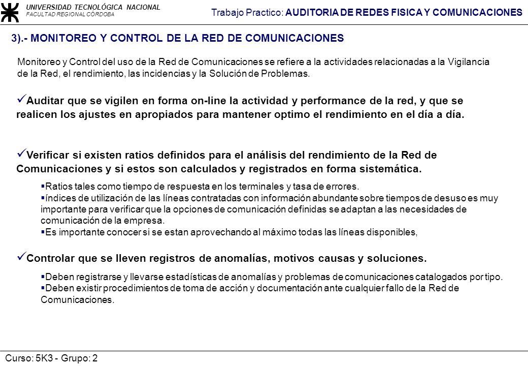 3).- MONITOREO Y CONTROL DE LA RED DE COMUNICACIONES