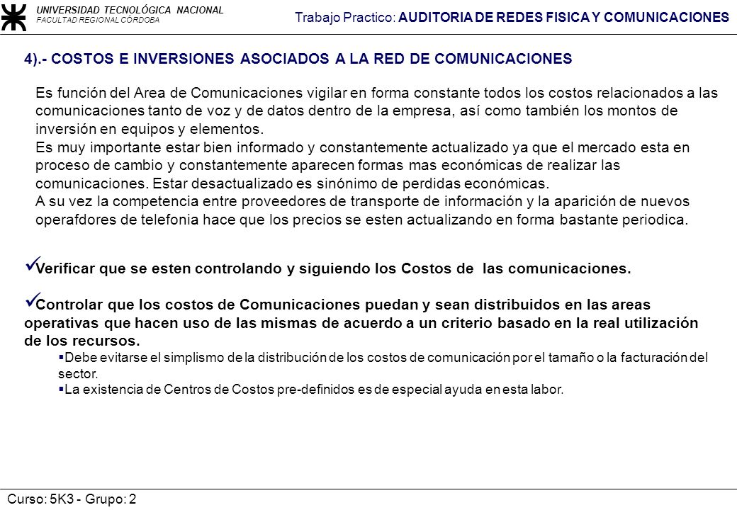 4).- COSTOS E INVERSIONES ASOCIADOS A LA RED DE COMUNICACIONES