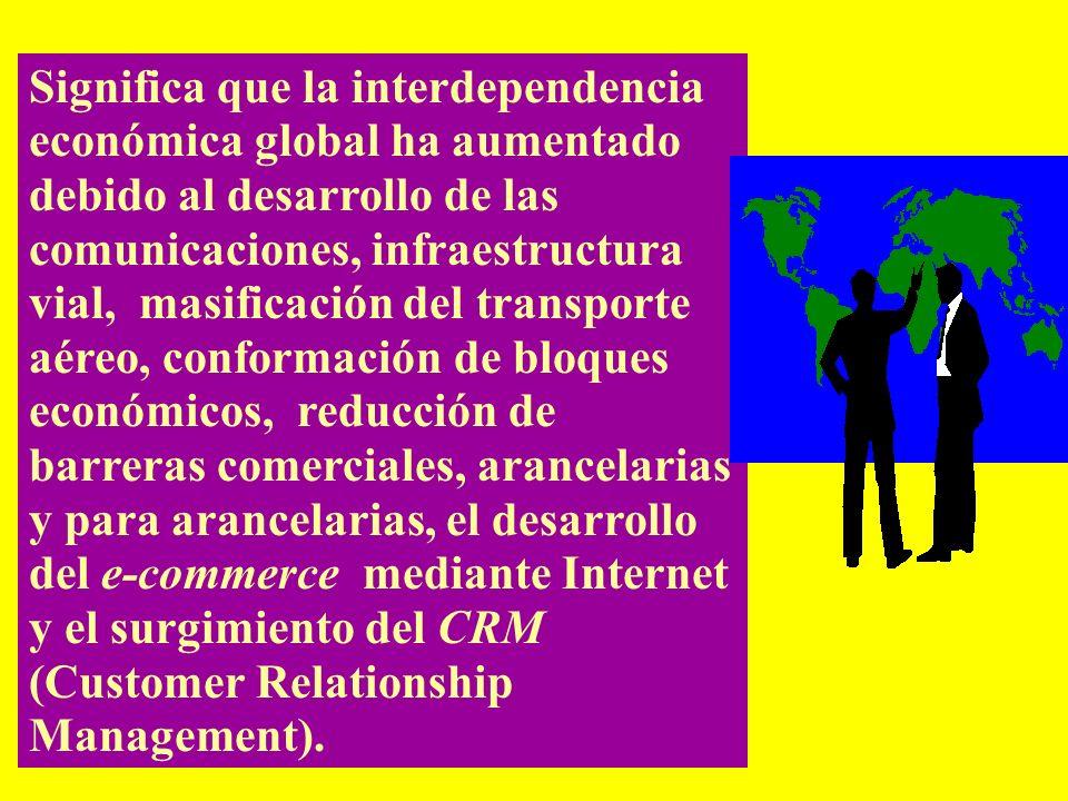 Significa que la interdependencia económica global ha aumentado debido al desarrollo de las comunicaciones, infraestructura vial, masificación del transporte aéreo, conformación de bloques económicos, reducción de barreras comerciales, arancelarias y para arancelarias, el desarrollo del e-commerce mediante Internet y el surgimiento del CRM (Customer Relationship Management).