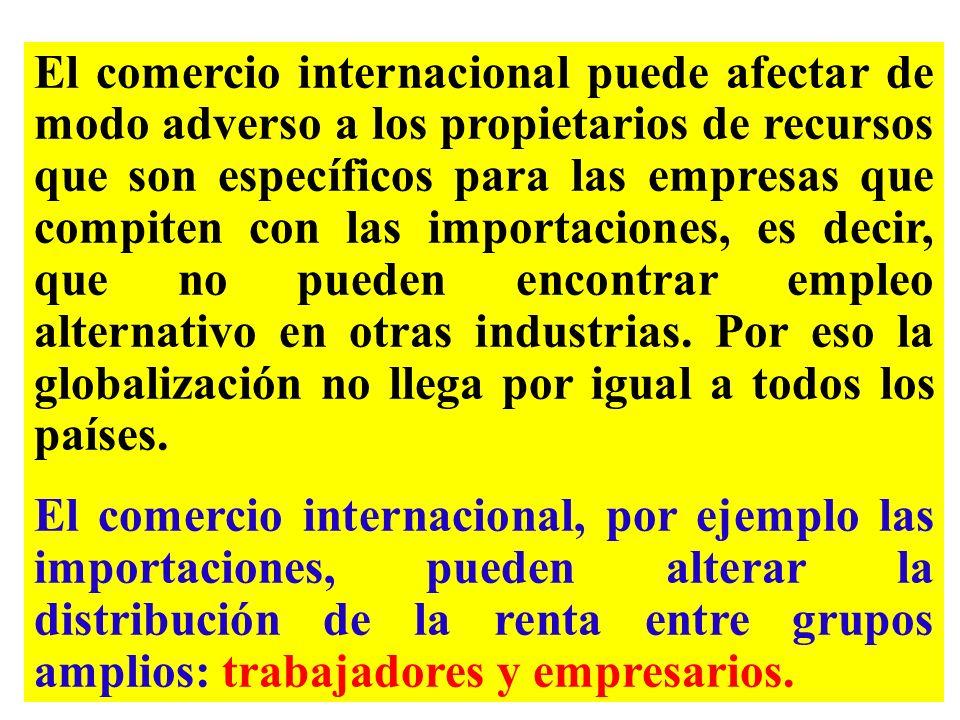 El comercio internacional puede afectar de modo adverso a los propietarios de recursos que son específicos para las empresas que compiten con las importaciones, es decir, que no pueden encontrar empleo alternativo en otras industrias. Por eso la globalización no llega por igual a todos los países.