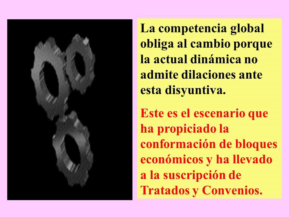 La competencia global obliga al cambio porque la actual dinámica no admite dilaciones ante esta disyuntiva.