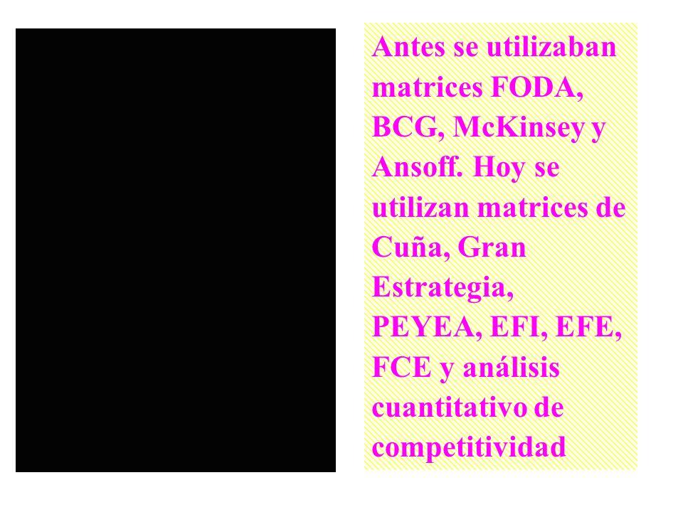 Antes se utilizaban matrices FODA, BCG, McKinsey y Ansoff