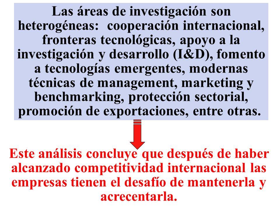 Las áreas de investigación son heterogéneas: cooperación internacional, fronteras tecnológicas, apoyo a la investigación y desarrollo (I&D), fomento a tecnologías emergentes, modernas técnicas de management, marketing y benchmarking, protección sectorial, promoción de exportaciones, entre otras.