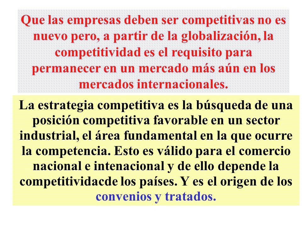 Que las empresas deben ser competitivas no es nuevo pero, a partir de la globalización, la competitividad es el requisito para permanecer en un mercado más aún en los mercados internacionales.