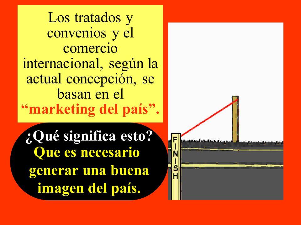 Los tratados y convenios y el comercio internacional, según la actual concepción, se basan en el marketing del país .