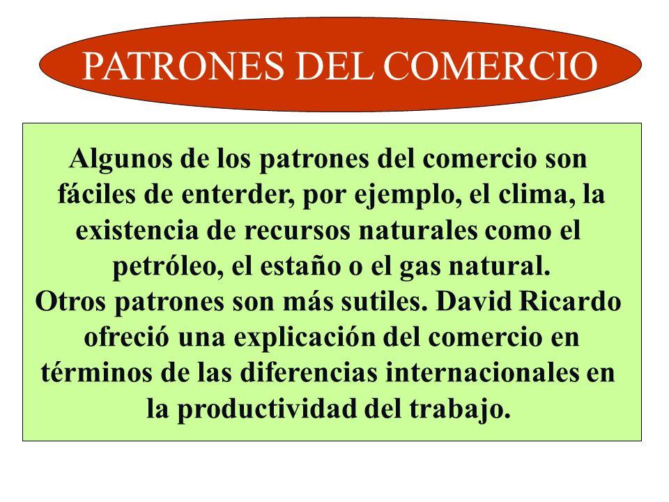 PATRONES DEL COMERCIO Algunos de los patrones del comercio son
