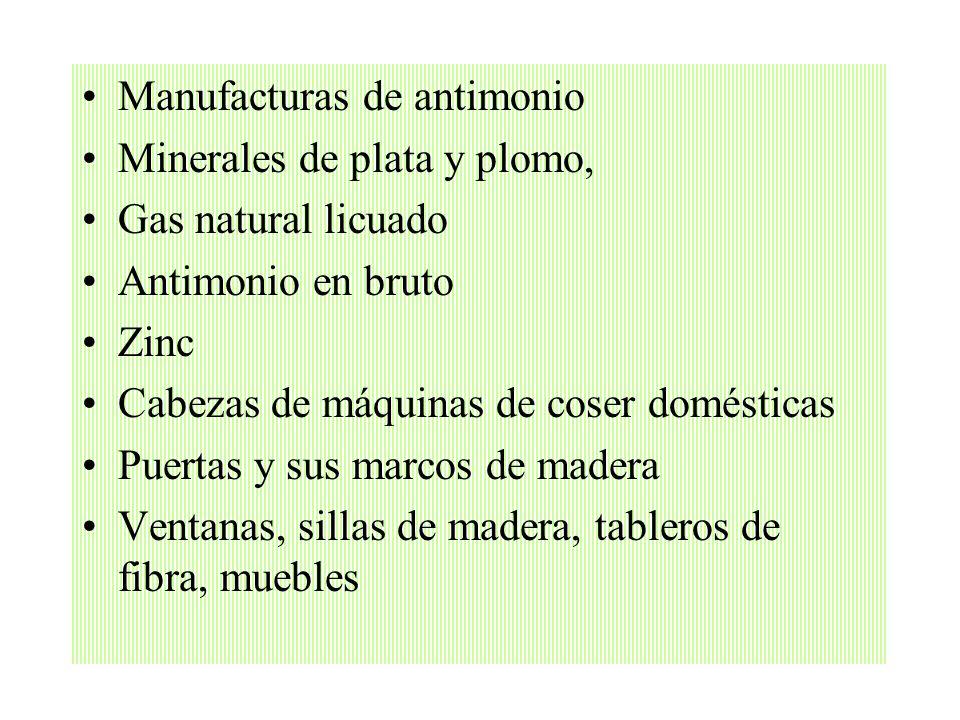 Manufacturas de antimonio