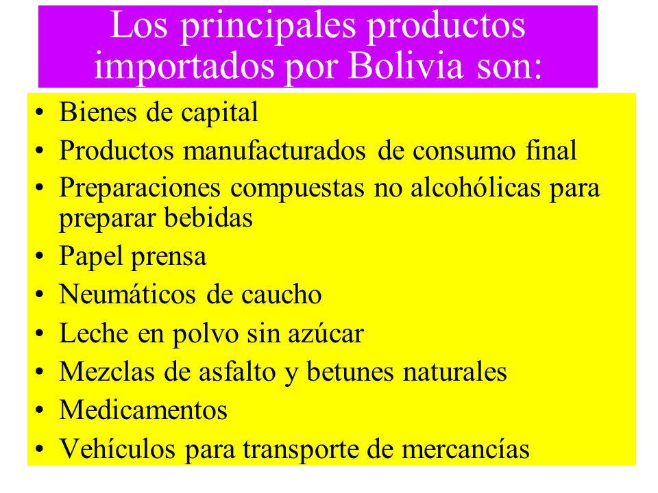 Los principales productos importados por Bolivia son: