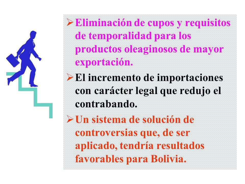 Eliminación de cupos y requisitos de temporalidad para los productos oleaginosos de mayor exportación.